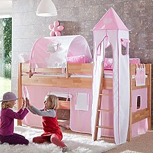 Hochbett & Zubehör rosa - weiß Buche massiv lackiert Kinderbett Jugendbe