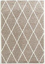 Hochfloor Teppich Berber Raute grau 160 x 230 cm