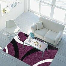 Hochflor Langflor Teppich Shaggy Wohnzimmer Bogen Lila Creme Schwarz Öko Tex 60x110 cm