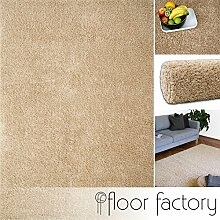 Hochflor Shaggy Teppich Colors beige 80x150cm - pflegeleichter und günstiger Langflorteppich