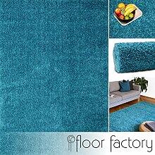 Hochflor Shaggy Teppich Colors blau/türkis 80x150cm - pflegeleichter und günstiger Langflorteppich