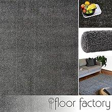 Hochflor Shaggy Teppich Colors grau/anthrazit 200x200cm - pflegeleichter und günstiger Langflorteppich