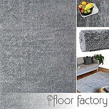 Hochflor Shaggy Teppich Colors silber/grau 120x170cm - pflegeleichter und günstiger Langflorteppich