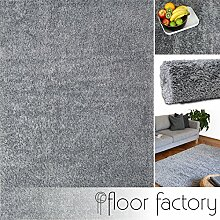 Hochflor Shaggy Teppich Colors silber/grau 200x290cm - pflegeleichter und günstiger Langflorteppich