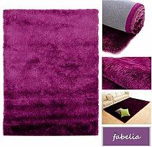Hochflor Shaggy Teppich Gentle Luxus - Läufer in Trendfarben (Lila, 10x10cm)
