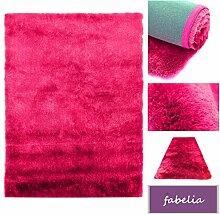 Hochflor Shaggy Teppich Gentle Luxus - Läufer in Trendfarben ( Magenta / Pink / Rosa, 10x10cm)