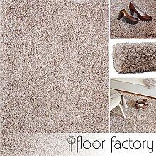 Hochflor Shaggy Teppich Loca beige 80x150cm - flauschiger und günstiger Langflorteppich