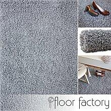 Hochflor Shaggy Teppich Loca silber/hellgrau 120x170cm - flauschiger und günstiger Langflorteppich