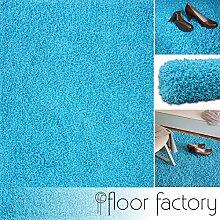 Hochflor Shaggy Teppich Loca türkis/blau 160x230cm - flauschiger und günstiger Langflorteppich