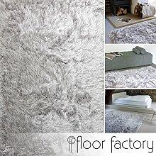 Hochflor Shaggy Teppich Prestige silber grau 200x290 cm - superweicher flauschiger Langflor Teppich