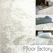 Hochflor Shaggy Teppich Prestige weiß 200x200 cm - superweicher flauschiger Langflor Teppich