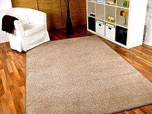 Hochflor Velours Teppich Luna Beige in 24 Größen