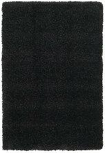 HOCHFLORTEPPICH 240/340 cm gewebt Schwarz