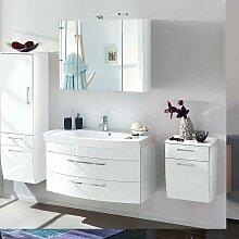 Hochglanz Badmöbel in Weiß komplett hängend