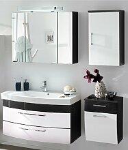Hochglanz Badmöbel Set 4tlg Badezimmer Spiegelschrank Waschplatz Waschtisch