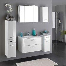 Hochglanz Badmöbel Set in Weiß komplett