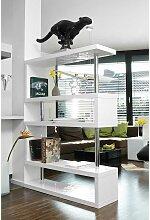 Hochglanz Bücherregal in Weiß und Chromfarben