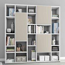 Hochglanz Bücherwand in Weiß und Beige Türen