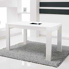 Hochglanz Esstisch in Weiß mit Schwarzglas