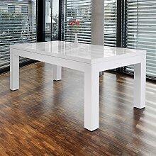 Hochglanz Tisch in Weiß Mittelauszug