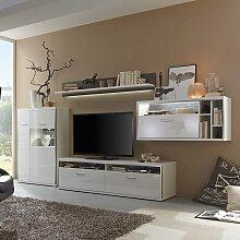 Hochglanz Wohnwand mit LED Beleuchtung 380 cm