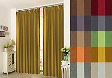 """Hochqualitativer Verdunkelungsvorhang nach Maß, Verdunkelungsgardine, Design: """"Stripe"""", Thermogardine, Kräuselband Höhe: 70cm bis 330cm, Dark Yellow (235cm)"""