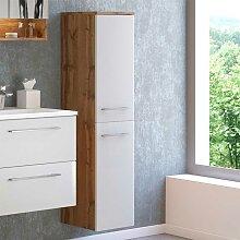 Hochschrank für Badezimmer Weiß und Wildeiche