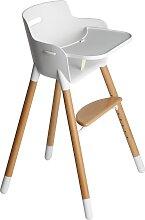 Hochstuhl mit Tisch & Gurt - Weiß/ Buche