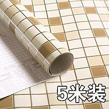 Hochtemperaturstabiles Selbstklebende Aufkleber Küche Lampblack Öl - Maschine Mit Marmor Kachelofen Wand Wasserdicht Kabinett,Mosaik Licht Kaffee,60Cm * 5 Meter Brei