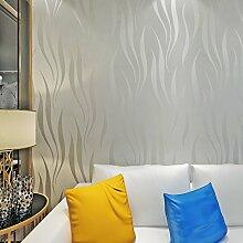Hochwertig Hanmero Mustertapete selbstklebend Tapete Simpel Modern Vliestapete Blatt 0,53m*10m Silber-grau für Schlafzimmer, Wohnzimmer Wallpaper