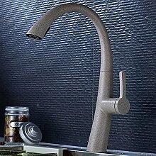 Hochwertig Hoch Küchenarmatur 360°Schwenkbar Spültischarmatur mit Herausziehbarer/Ausziehbar Geschirrbrause Einhand Armatur Mischbatterie Spüle Wasserhahn mit Zwei-Funktion-Brause Messing Malerei (Granit Grau)