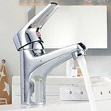 Hochwertig Waschraum Waschtischarmatur Badezimmer Waschbecken Wasserhahn Armaturen Einhebelmischer Mischbatterie Waschtischbatterie Silber aus Messing Verchromt mit Keramik-Kartusche und ABS Bubbler