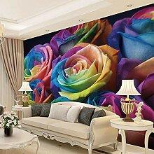 Hochwertige 3D Farbige Rose Blumen Fototapete für