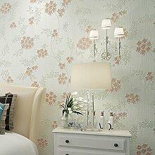 Hochwertige Country Garden style Beflockung gold Vliestapeten wohnzimmer schlafzimmer tapete, Hellgrün