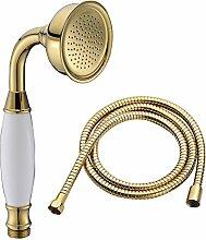Hochwertige Duschbrause aus Messing im klassischen, traditionellen Telefon-Design mit 1,5 m langem Duschschlauch von Ownace , Messing, Gold Hand Shower&hose, Shower Head A