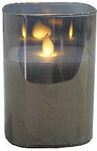 Hochwertige & Eckige LED Kerze im Glas Windlicht -