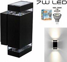 Hochwertige eckige LED Wandleuchte UpDown Alu inkl. 2x Dimmbare GU10 7W LED - 1800-3000K - schwarz - warmweiß - für Innen und Außen - IP44