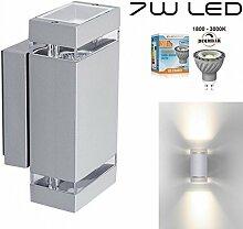 Hochwertige eckige LED Wandleuchte UpDown Alu inkl. 2x Dimmbare GU10 7W LED - 1800-3000K - grau - warmweiß - für Innen und Außen - IP44