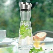 Hochwertige Glas-Karaffe mit Edelstahl Deckel und