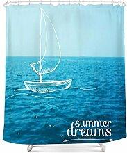 Hochwertige Individualität Kreativität Wasserdichte Form Verdickung Polyester Bad Vorhang mit Haken zu verschärfen Vorhang (blau) ( größe : 180*200cm )