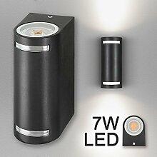 Hochwertige LED Wandleuchte UpDown Alu in schwarz inkl. 2x LED GU10 Markenstrahler von LEDANDO 7W - neutralweiß 4000K - für Innen und Außen - IP44