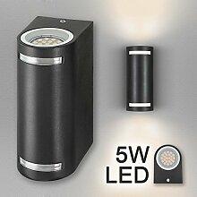 Hochwertige LED Wandleuchte UpDown Alu in schwarz inkl. 2x LED GU10 Markenstrahler von LEDANDO 5W - warmweiß 3000K - für Innen und Außen - IP44