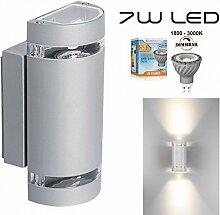 Hochwertige LED Wandleuchte UpDown Alu inkl. 2x Dimmbare GU10 7W LED - 1800-3000K - grau - warmweiß - für Innen und Außen - IP44