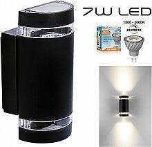 Hochwertige LED Wandleuchte UpDown Alu inkl. 2x Dimmbare GU10 7W LED - 1800-3000K - schwarz - warmweiß - für Innen und Außen - IP44