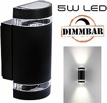Hochwertige LED Wandleuchte UpDown Alu inkl. 2x LED GU10 Markenstrahler von LEDANDO 5W - DIMMBAR - COB - schwarz - warmweiß - für Innen und Außen - IP44
