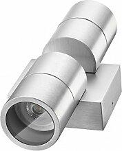 Hochwertige LED Wandleuchte UpDown Alu inkl. 2x LED GU10 Markenstrahler von LEDANDO 7W - CNC gefrästes Alu - silber - warmweiß - für Innen und Außen - IP65
