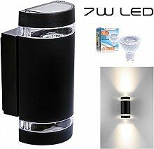 Hochwertige LED Wandleuchte UpDown Alu inkl. 2x LED GU10 Markenstrahler von LEDANDO 7W - schwarz - warmweiß - für Innen und Außen - IP44