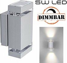 Hochwertige LED Wandleuchte UpDown Alu inkl. 2x LED GU10 Markenstrahler von LEDANDO 5W - DIMMBAR - COB - grau - warmweiß - für Innen und Außen - IP44