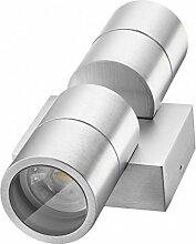 Hochwertige LED Wandleuchte UpDown Alu inkl. 2x LED GU10 Markenstrahler von LEDANDO 5W - CNC gefrästes Alu - silber - warmweiß - für Innen und Außen - IP65