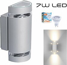 Hochwertige LED Wandleuchte UpDown Alu inkl. 2x LED GU10 Markenstrahler von LEDANDO 7W - grau - warmweiß - für Innen und Außen - IP44